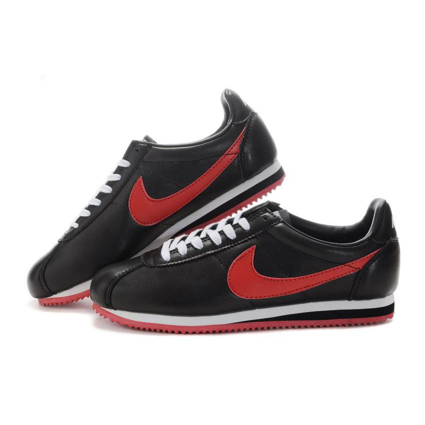 Nike Cortez Men Leather Shoes Black Red