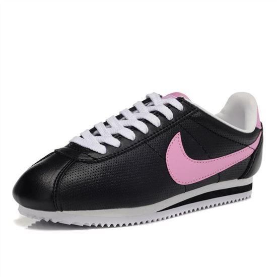 Nike Cortez Women Leather Shoes Black
