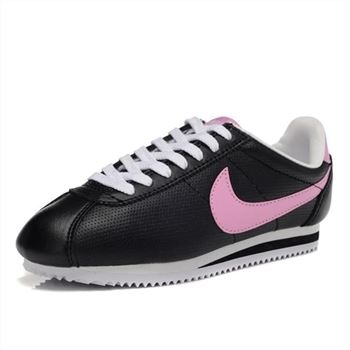 Nike Cortez Women Leather Shoes Black Pink