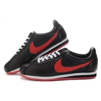 Nike Cortez Women Leather Shoes Black Red
