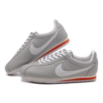 Nike Cortez Women Leather Shoes Gray White Red